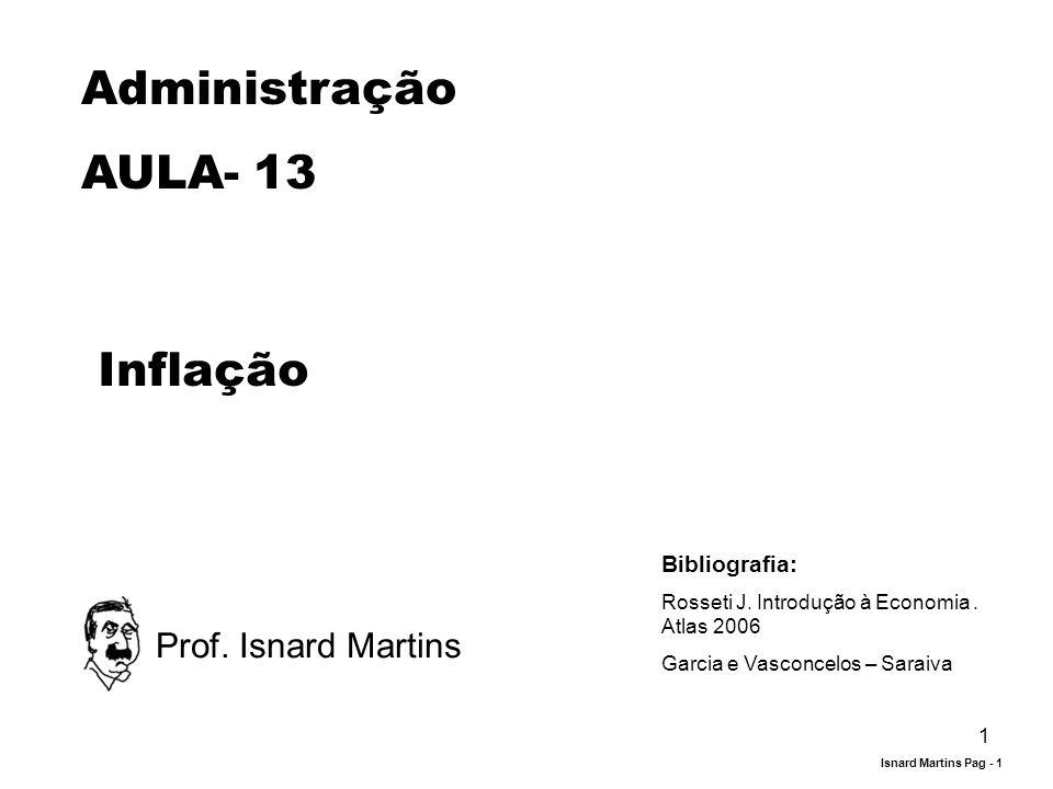 Administração AULA- 13 Inflação Prof. Isnard Martins Bibliografia: