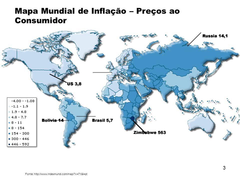 A Inflação Mapa Mundial de Inflação – Preços ao Consumidor
