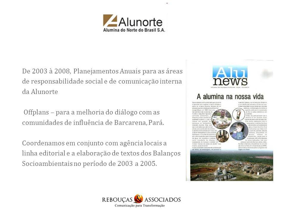 De 2003 à 2008, Planejamentos Anuais para as áreas de responsabilidade social e de comunicação interna da Alunorte