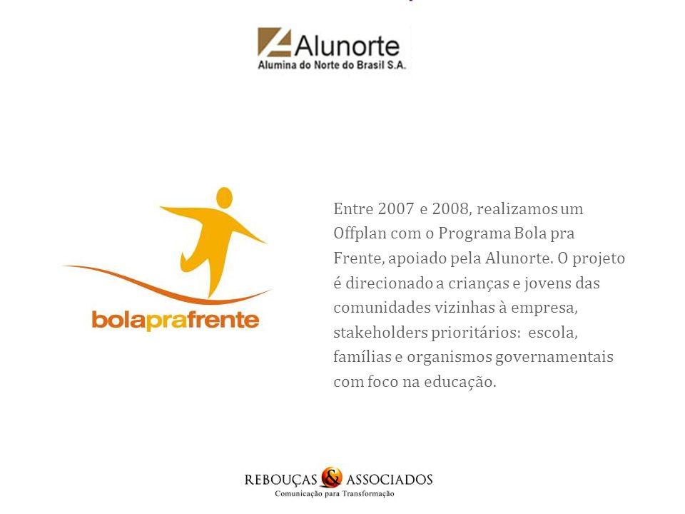 Entre 2007 e 2008, realizamos um Offplan com o Programa Bola pra Frente, apoiado pela Alunorte.