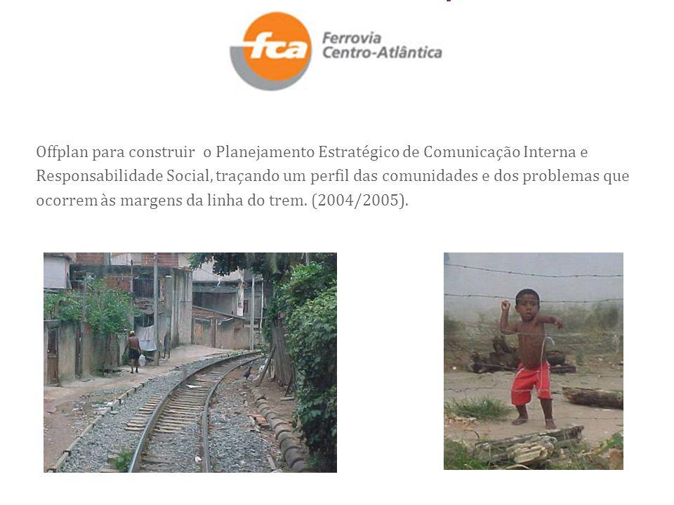 Offplan para construir o Planejamento Estratégico de Comunicação Interna e Responsabilidade Social, traçando um perfil das comunidades e dos problemas que ocorrem às margens da linha do trem.