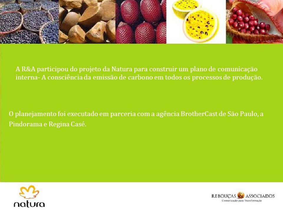 A R&A participou do projeto da Natura para construir um plano de comunicação interna- A consciência da emissão de carbono em todos os processos de produção.