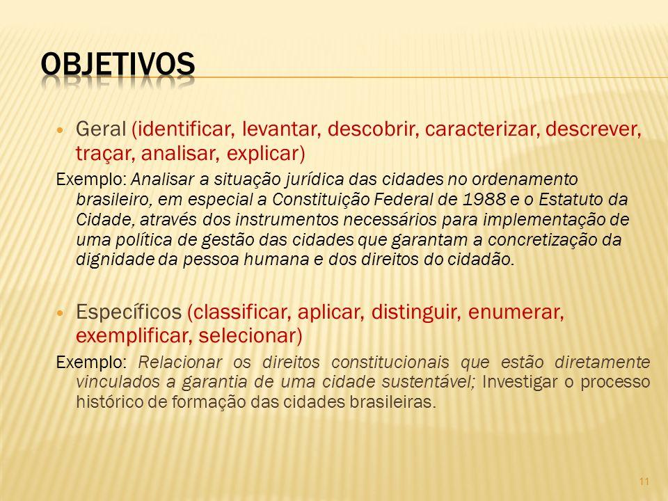 OBJETIVOS Geral (identificar, levantar, descobrir, caracterizar, descrever, traçar, analisar, explicar)