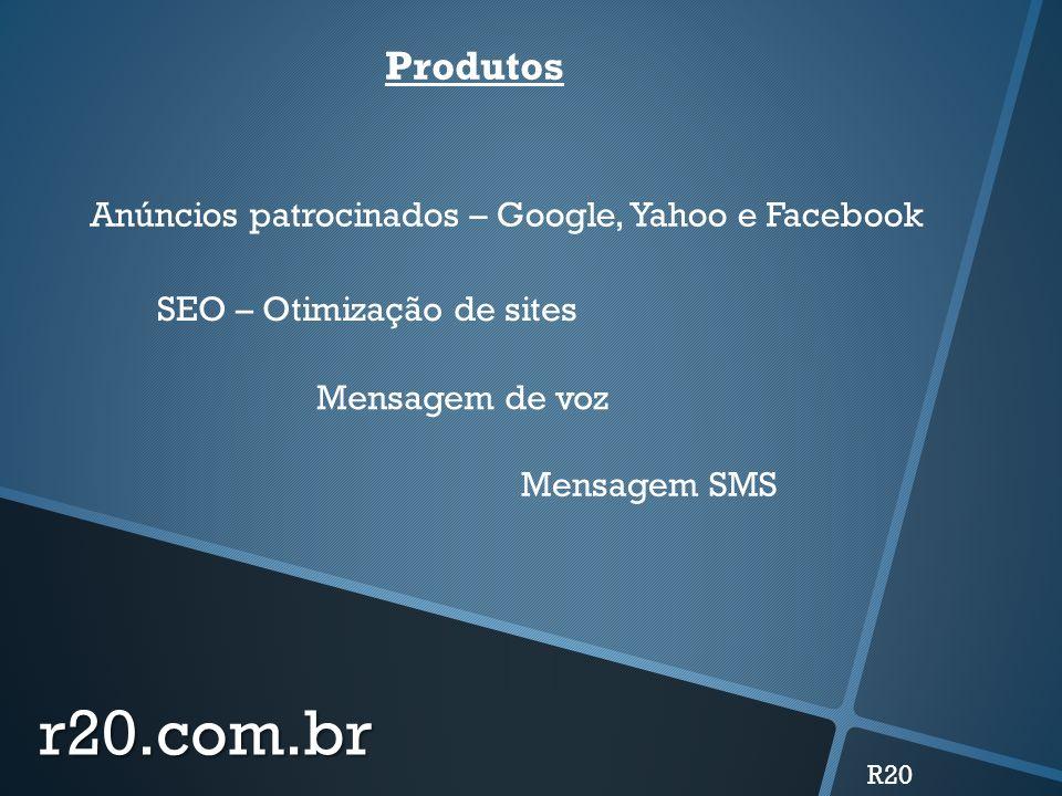 r20.com.br Produtos Anúncios patrocinados – Google, Yahoo e Facebook