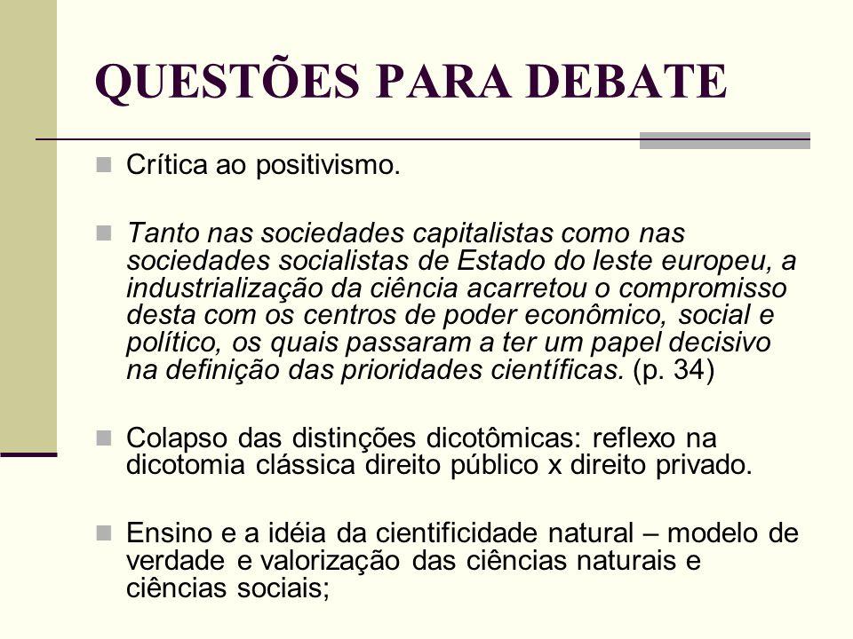 QUESTÕES PARA DEBATE Crítica ao positivismo.