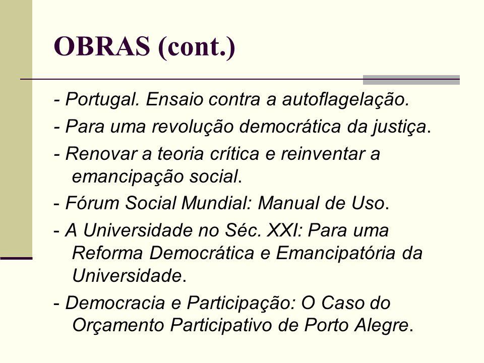OBRAS (cont.) - Portugal. Ensaio contra a autoflagelação.