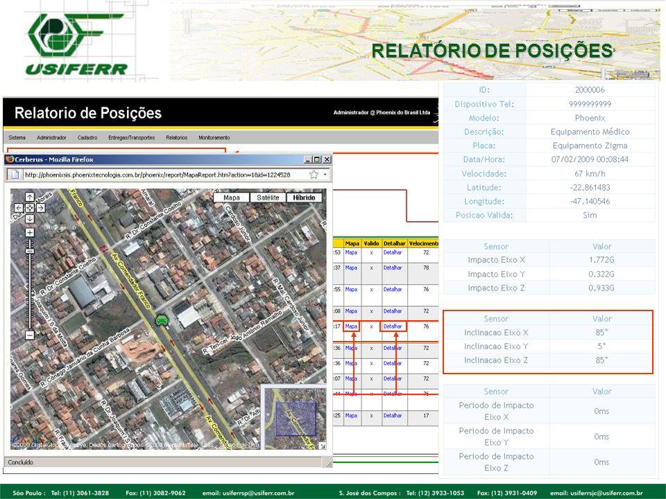 RELATÓRIO DE POSIÇÕES Visualize data/hora específica,velocidade,