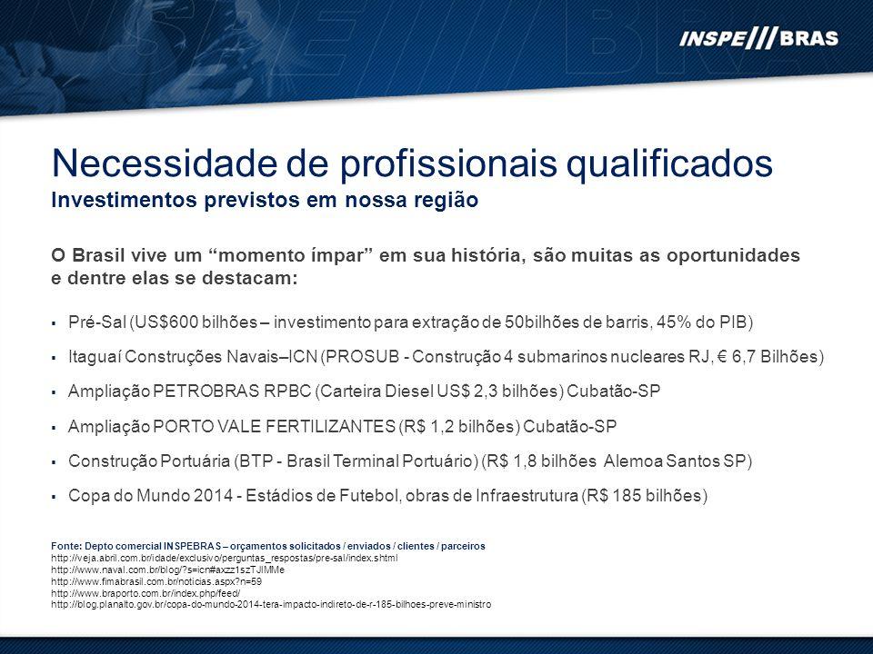 Necessidade de profissionais qualificados Investimentos previstos em nossa região