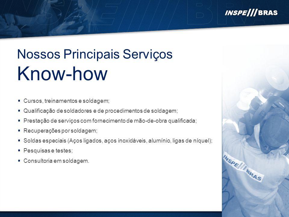 Know-how Nossos Principais Serviços Cursos, treinamentos e soldagem;