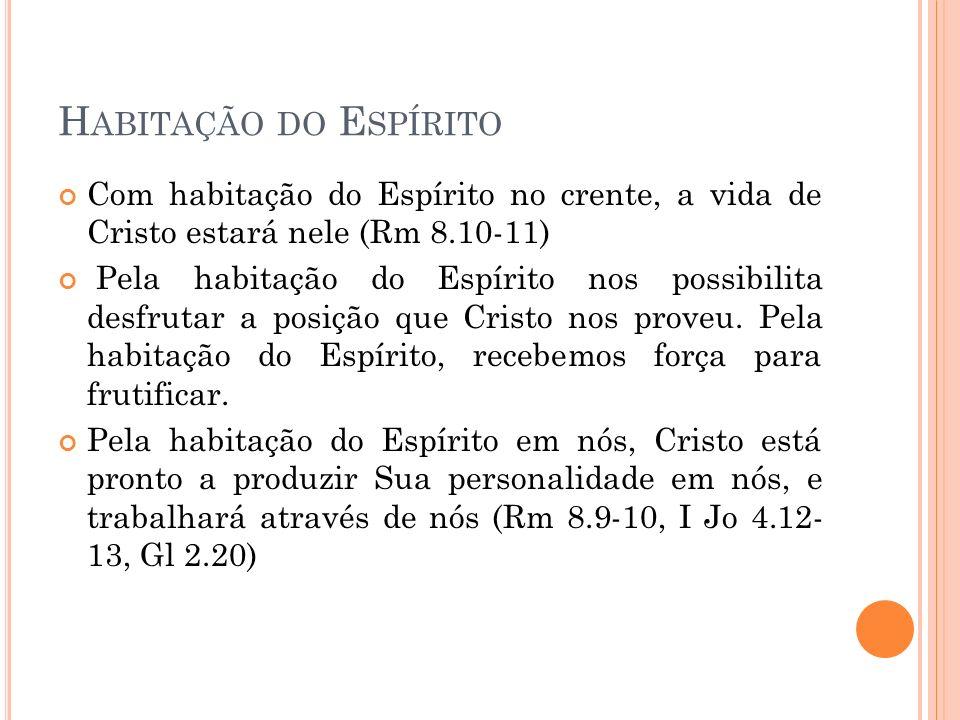 Habitação do Espírito Com habitação do Espírito no crente, a vida de Cristo estará nele (Rm 8.10-11)