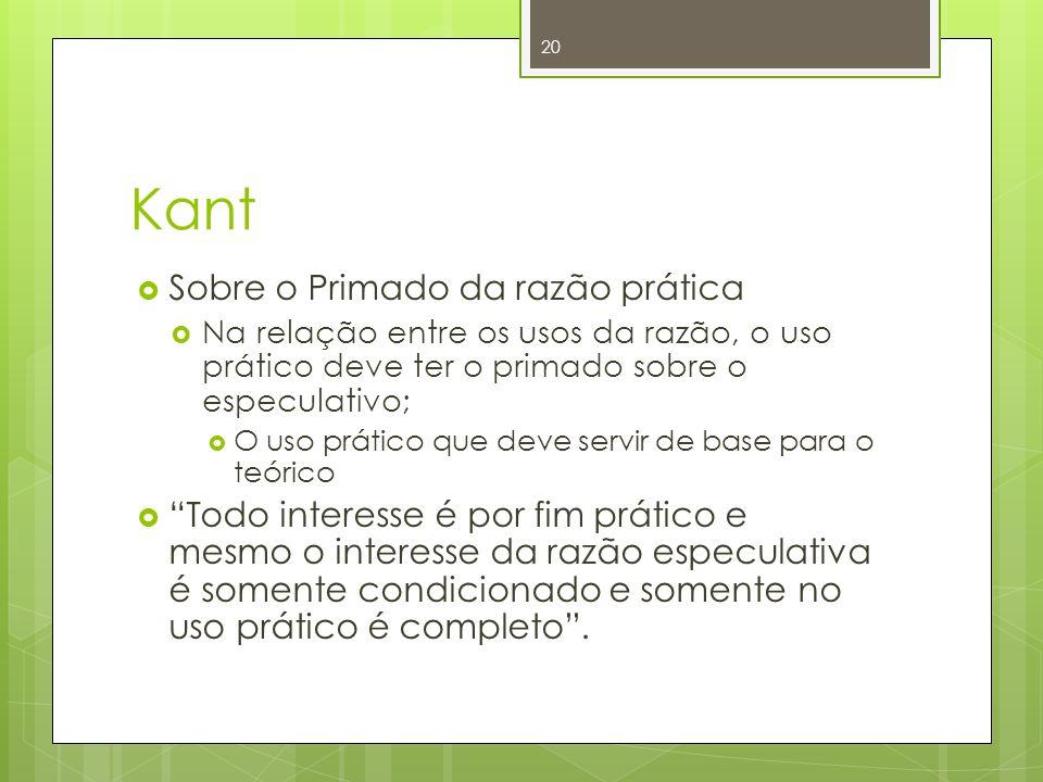 Kant Sobre o Primado da razão prática