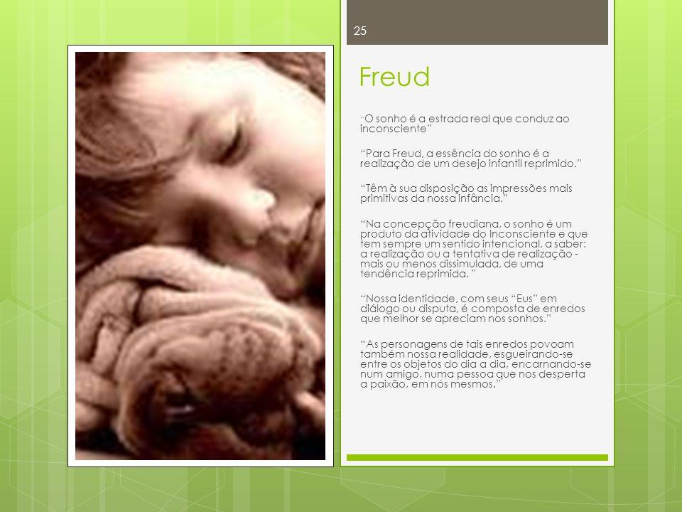 Freud O sonho é a estrada real que conduz ao inconsciente Para Freud, a essência do sonho é a realização de um desejo infantil reprimido.