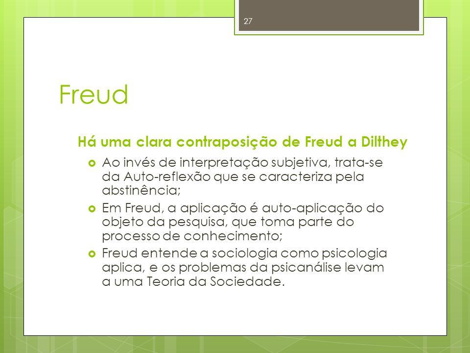 Freud Há uma clara contraposição de Freud a Dilthey