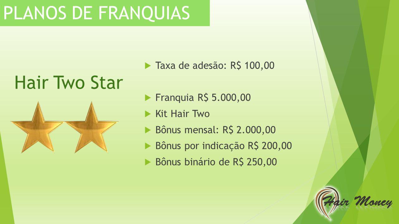 PLANOS DE FRANQUIAS Hair Two Star Taxa de adesão: R$ 100,00