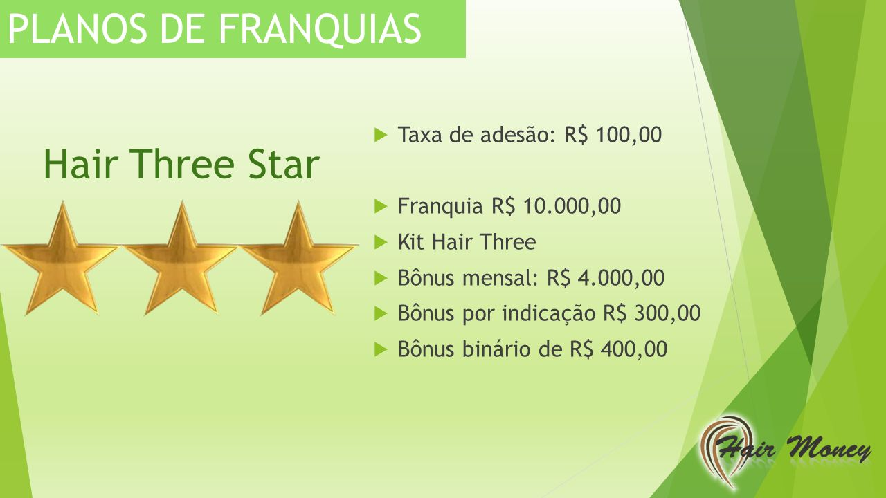 PLANOS DE FRANQUIAS Hair Three Star Taxa de adesão: R$ 100,00