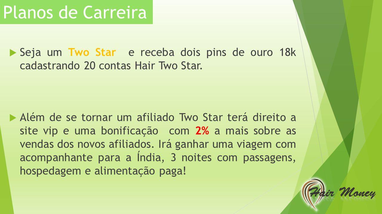 Planos de Carreira Seja um Two Star e receba dois pins de ouro 18k cadastrando 20 contas Hair Two Star.