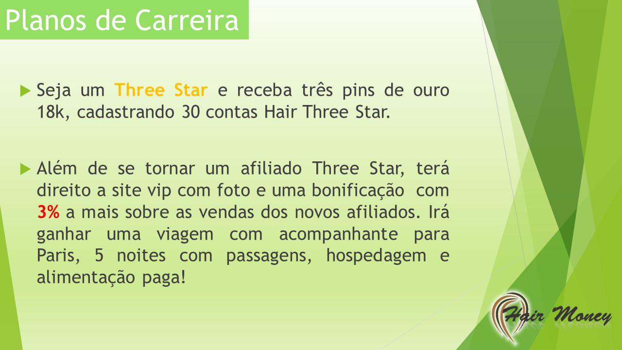 Planos de Carreira Seja um Three Star e receba três pins de ouro 18k, cadastrando 30 contas Hair Three Star.