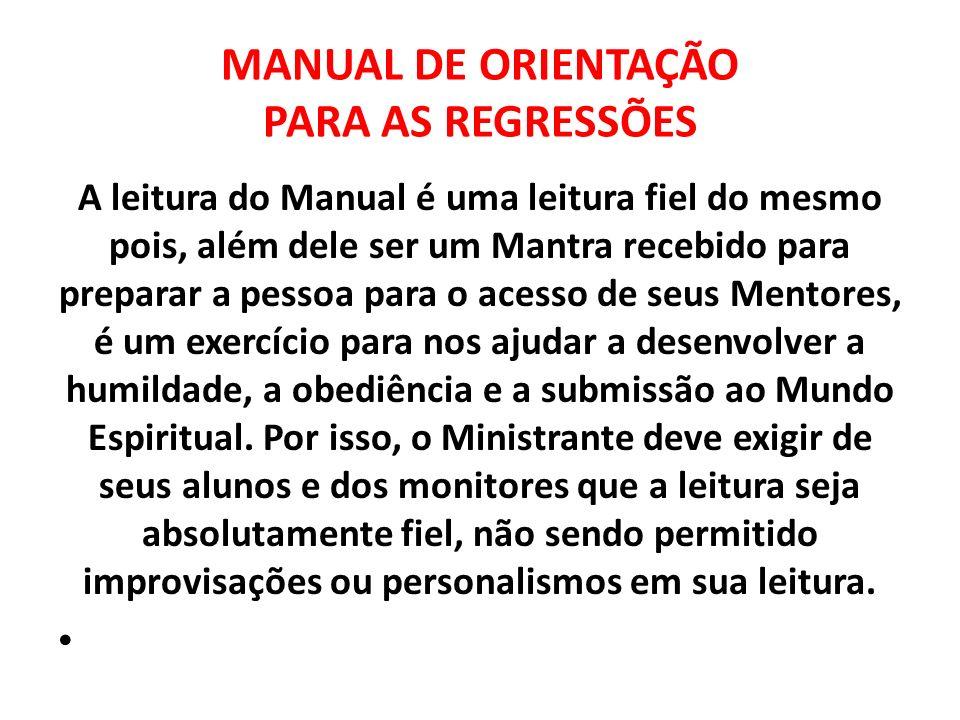 MANUAL DE ORIENTAÇÃO PARA AS REGRESSÕES