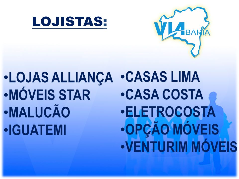 LOJAS ALLIANÇA CASAS LIMA MÓVEIS STAR CASA COSTA MALUCÃO ELETROCOSTA