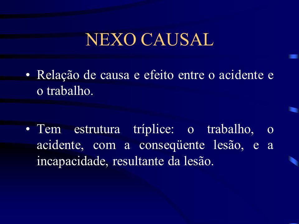 NEXO CAUSAL Relação de causa e efeito entre o acidente e o trabalho.