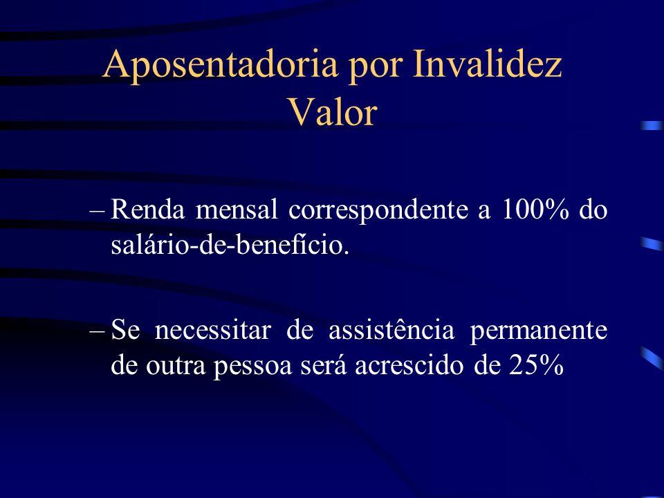 Aposentadoria por Invalidez Valor