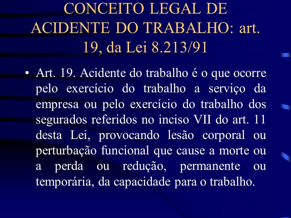 CONCEITO LEGAL DE ACIDENTE DO TRABALHO: art. 19, da Lei 8.213/91