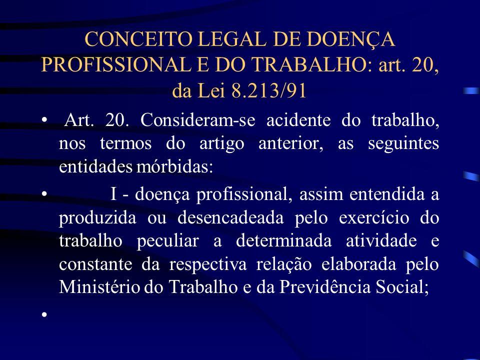 CONCEITO LEGAL DE DOENÇA PROFISSIONAL E DO TRABALHO: art. 20, da Lei 8