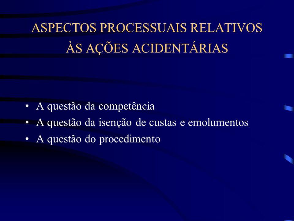 ASPECTOS PROCESSUAIS RELATIVOS ÀS AÇÕES ACIDENTÁRIAS