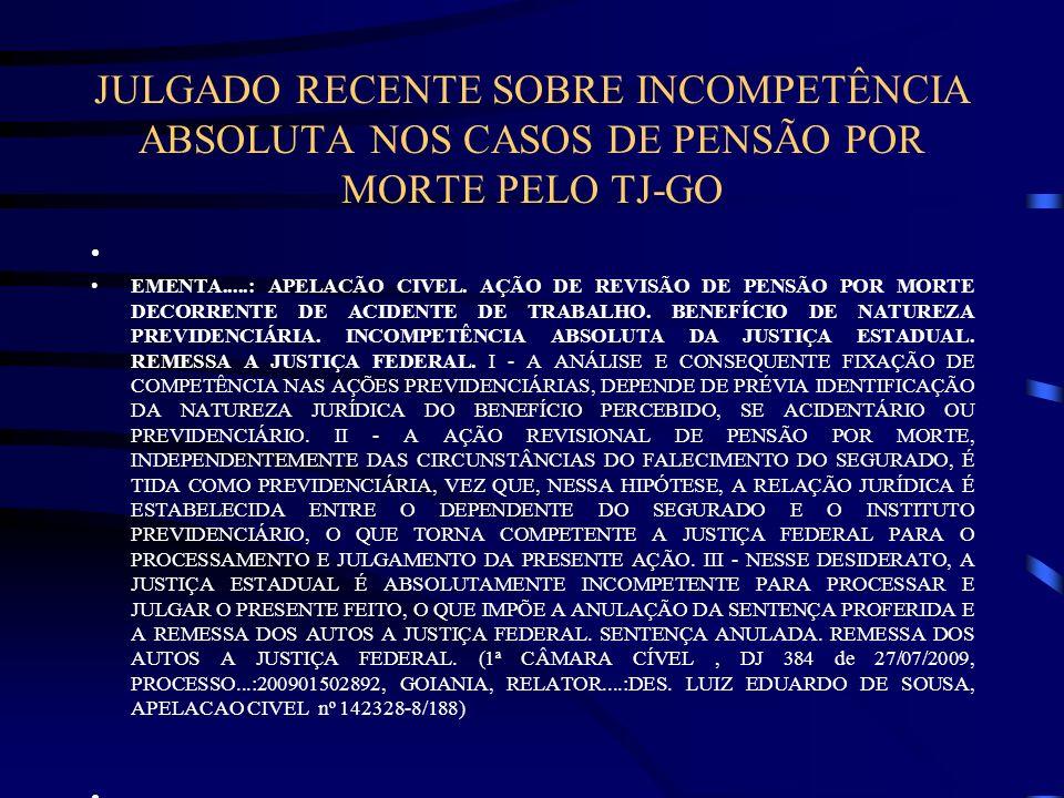 JULGADO RECENTE SOBRE INCOMPETÊNCIA ABSOLUTA NOS CASOS DE PENSÃO POR MORTE PELO TJ-GO