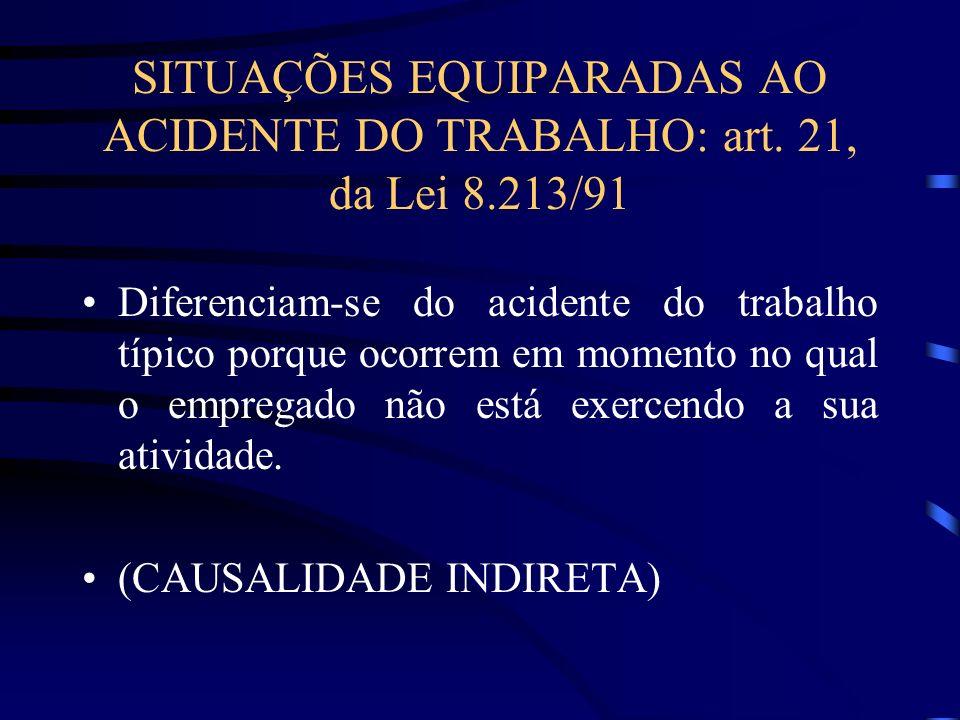 SITUAÇÕES EQUIPARADAS AO ACIDENTE DO TRABALHO: art. 21, da Lei 8