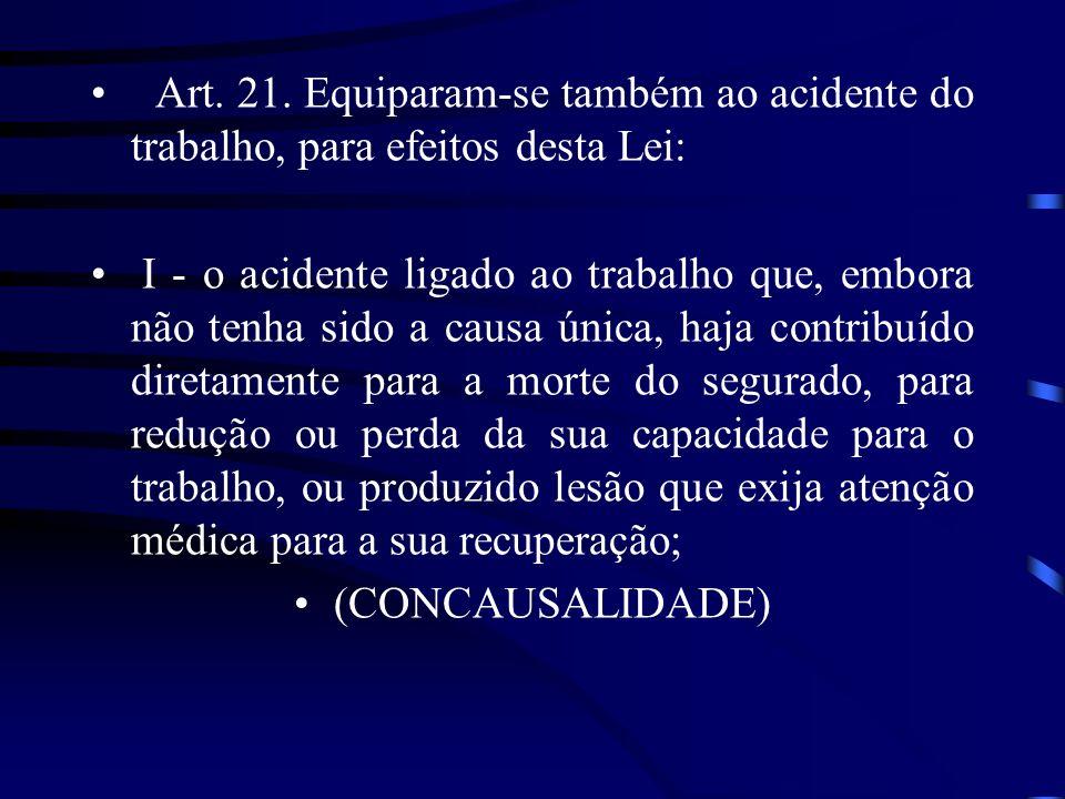 Art. 21. Equiparam-se também ao acidente do trabalho, para efeitos desta Lei: