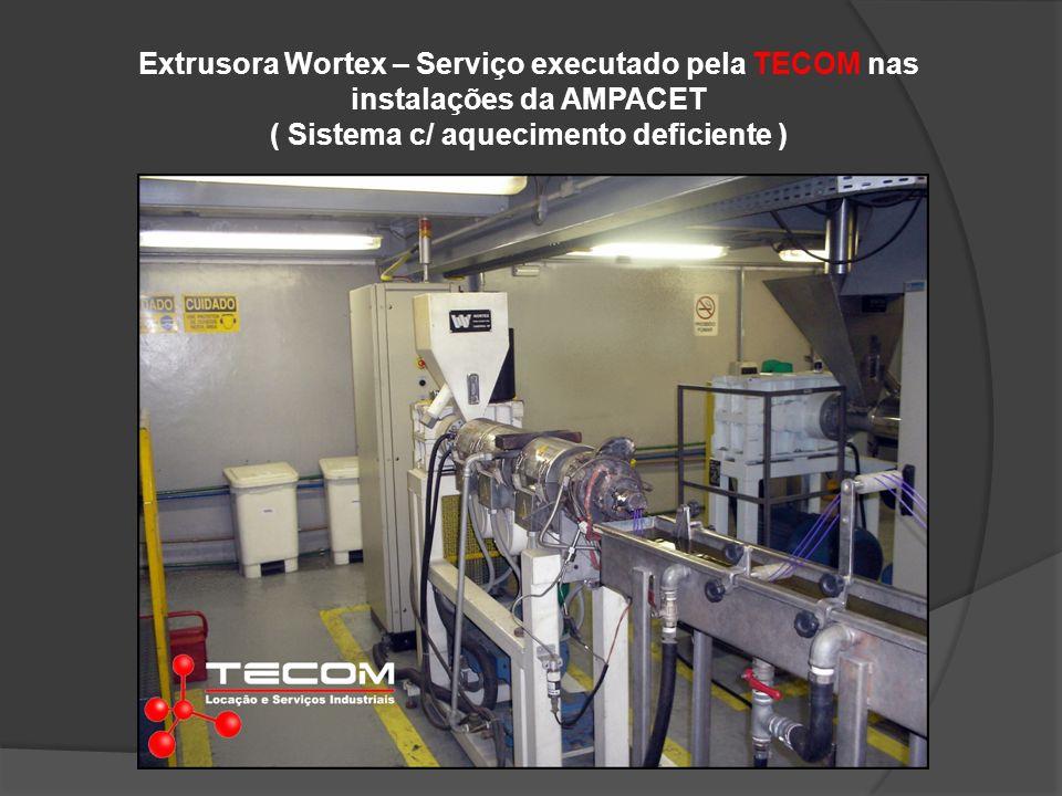 Extrusora Wortex – Serviço executado pela TECOM nas instalações da AMPACET ( Sistema c/ aquecimento deficiente )