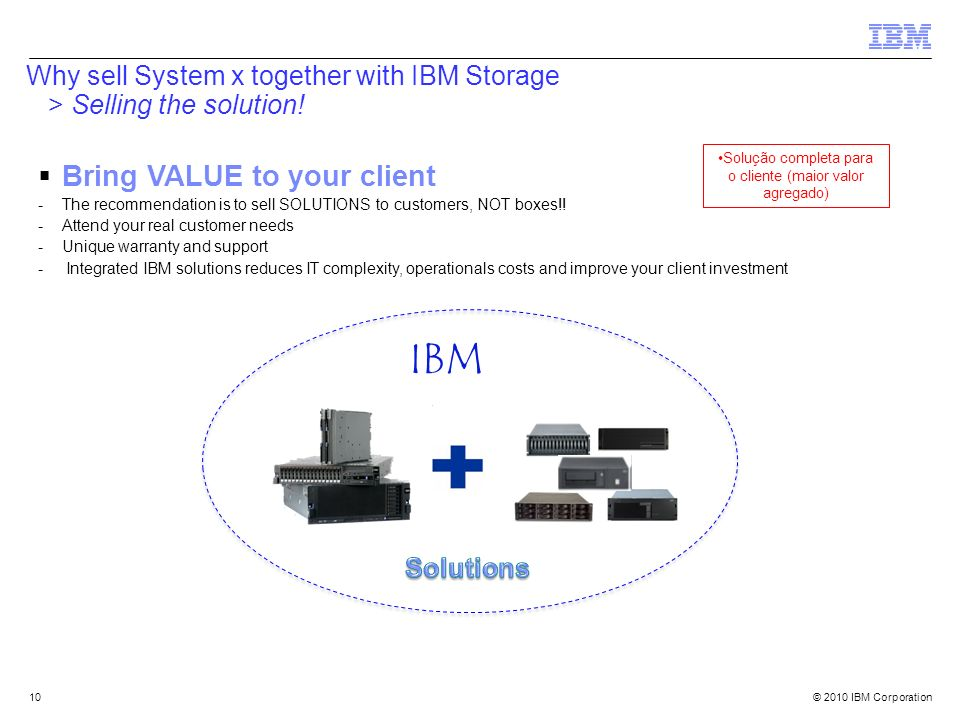 Why sell System x together with IBM Storage > Selling the solution!