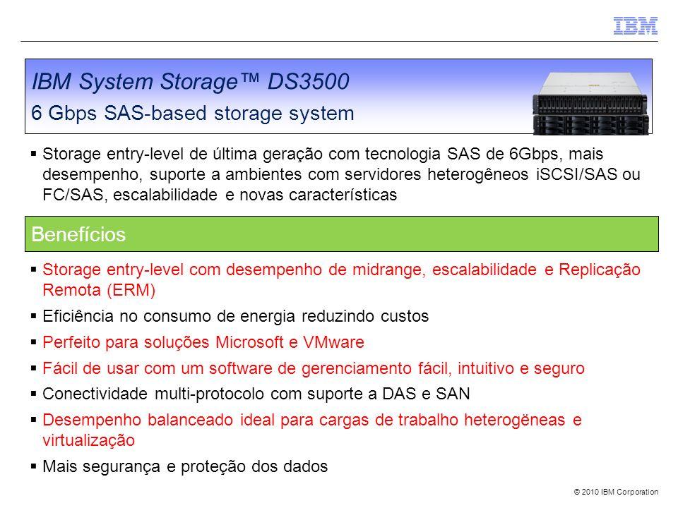 IBM System Storage™ DS3500 6 Gbps SAS-based storage system Benefícios