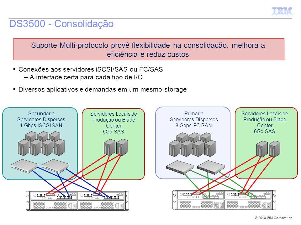 DS3500 - Consolidação Suporte Multi-protocolo provê flexibilidade na consolidação, melhora a eficiência e reduz custos.