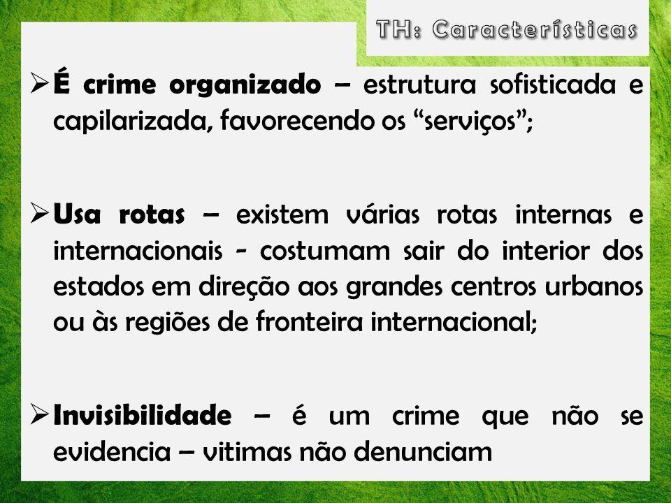 TH: Características É crime organizado – estrutura sofisticada e capilarizada, favorecendo os serviços ;