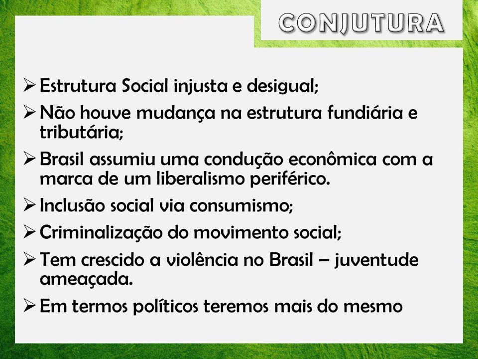 CONJUTURA Estrutura Social injusta e desigual;