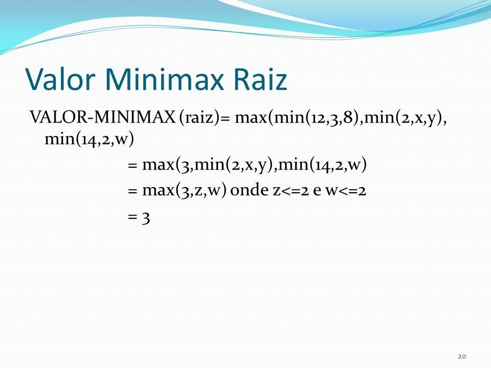 Valor Minimax Raiz VALOR-MINIMAX (raiz)= max(min(12,3,8),min(2,x,y), min(14,2,w) = max(3,min(2,x,y),min(14,2,w) = max(3,z,w) onde z<=2 e w<=2 = 3