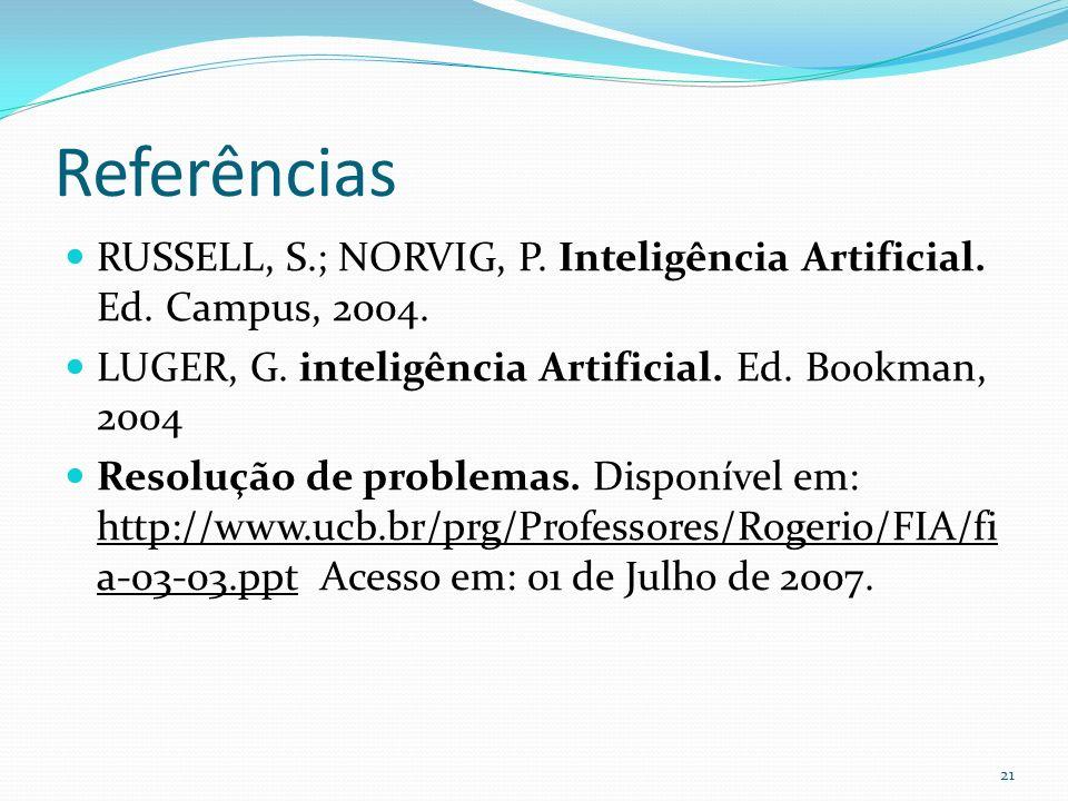 Referências RUSSELL, S.; NORVIG, P. Inteligência Artificial. Ed. Campus, 2004. LUGER, G. inteligência Artificial. Ed. Bookman, 2004.