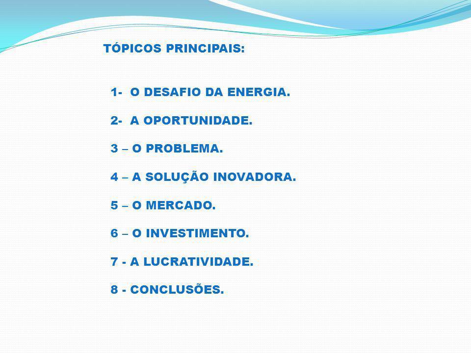 TÓPICOS PRINCIPAIS: 1- O DESAFIO DA ENERGIA. 2- A OPORTUNIDADE. 3 – O PROBLEMA. 4 – A SOLUÇÃO INOVADORA.