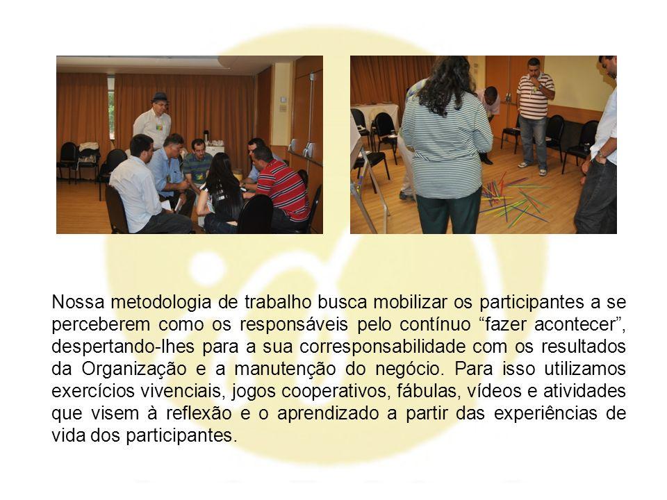Nossa metodologia de trabalho busca mobilizar os participantes a se perceberem como os responsáveis pelo contínuo fazer acontecer , despertando-lhes para a sua corresponsabilidade com os resultados da Organização e a manutenção do negócio.