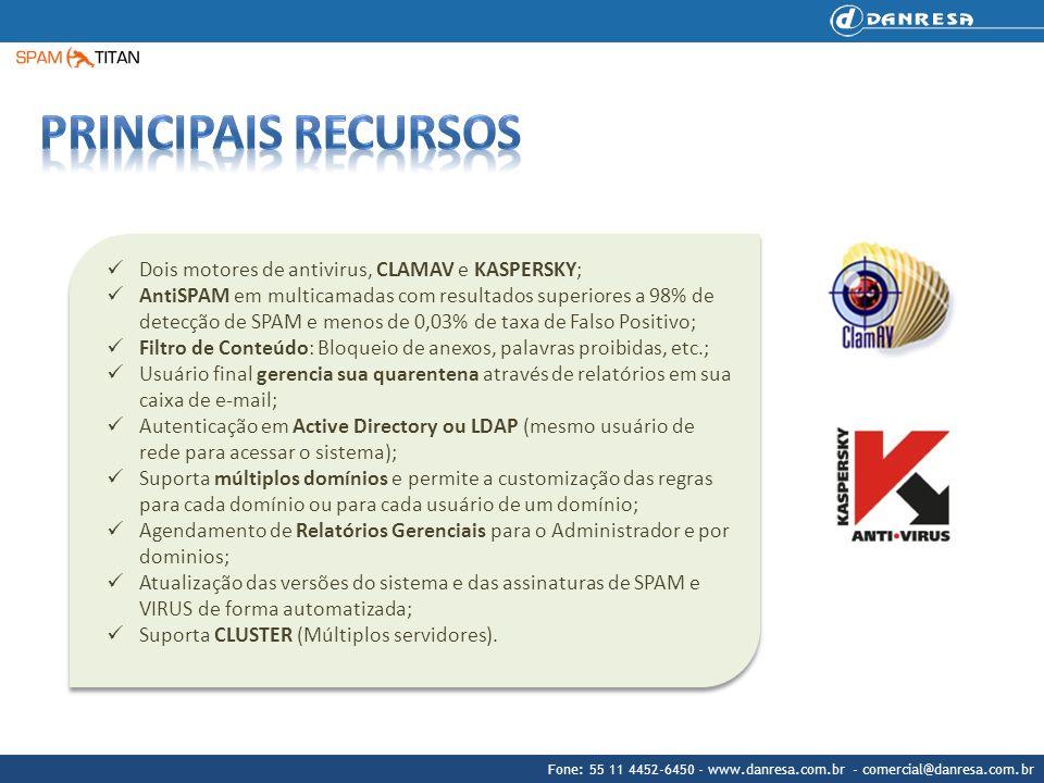 Principais recursos Dois motores de antivirus, CLAMAV e KASPERSKY;