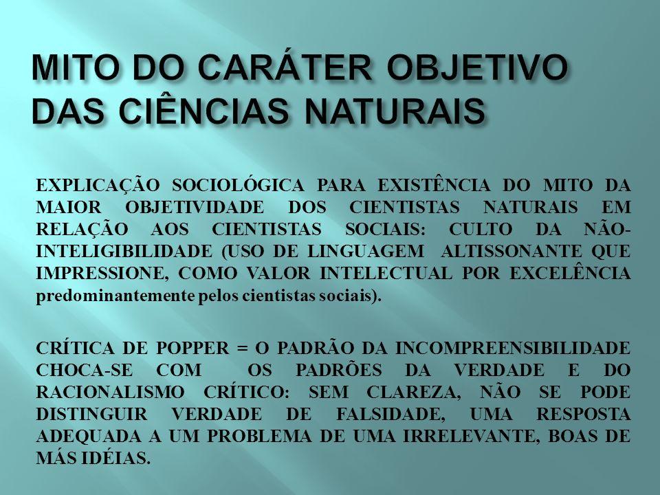 MITO DO CARÁTER OBJETIVO DAS CIÊNCIAS NATURAIS