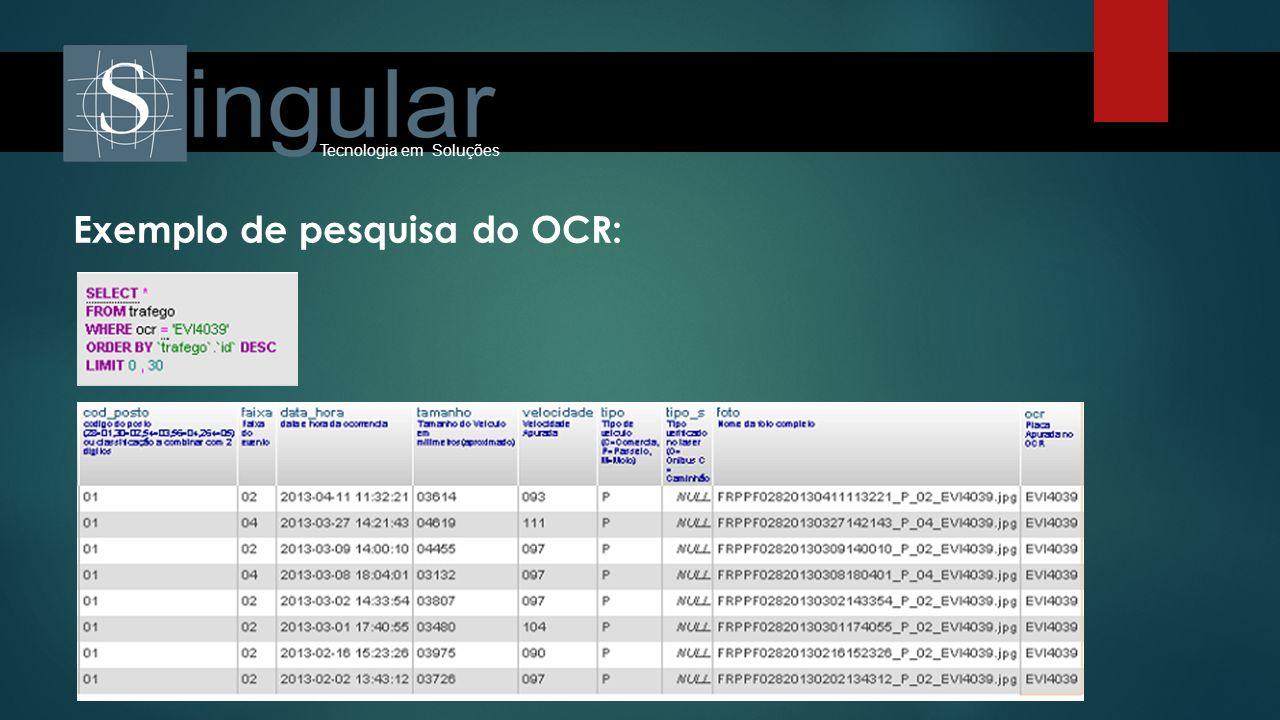 Exemplo de pesquisa do OCR: