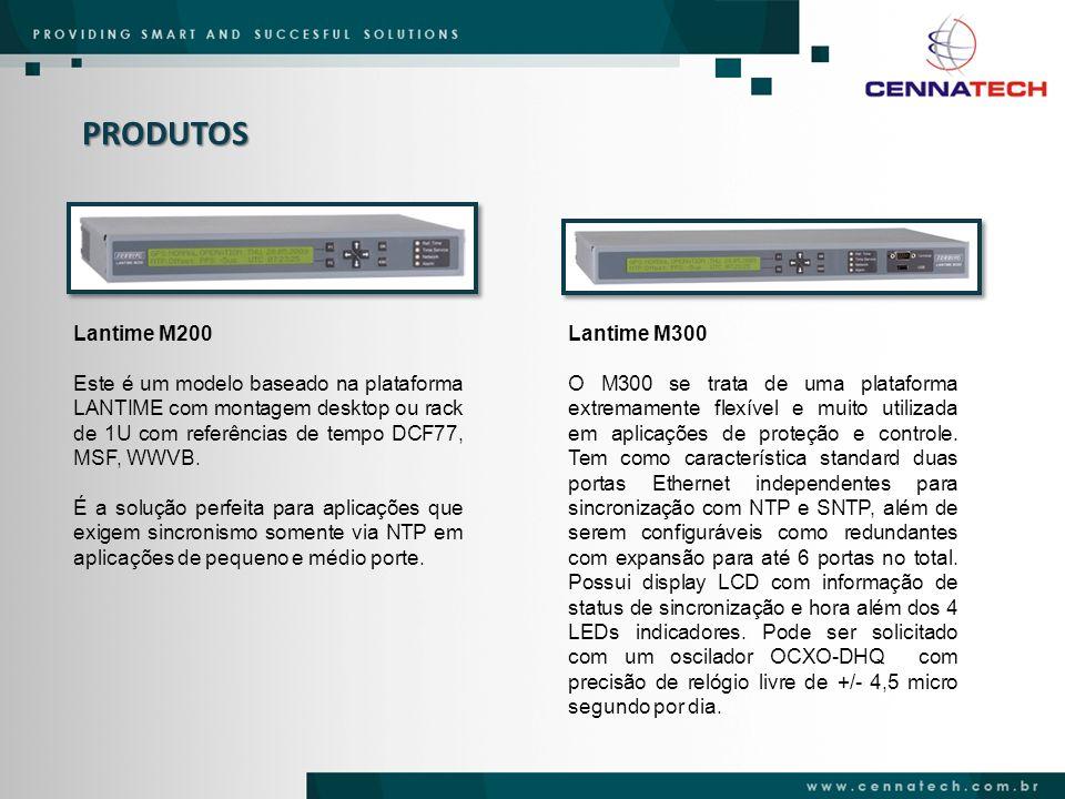 PRODUTOS Lantime M200. Este é um modelo baseado na plataforma LANTIME com montagem desktop ou rack de 1U com referências de tempo DCF77, MSF, WWVB.