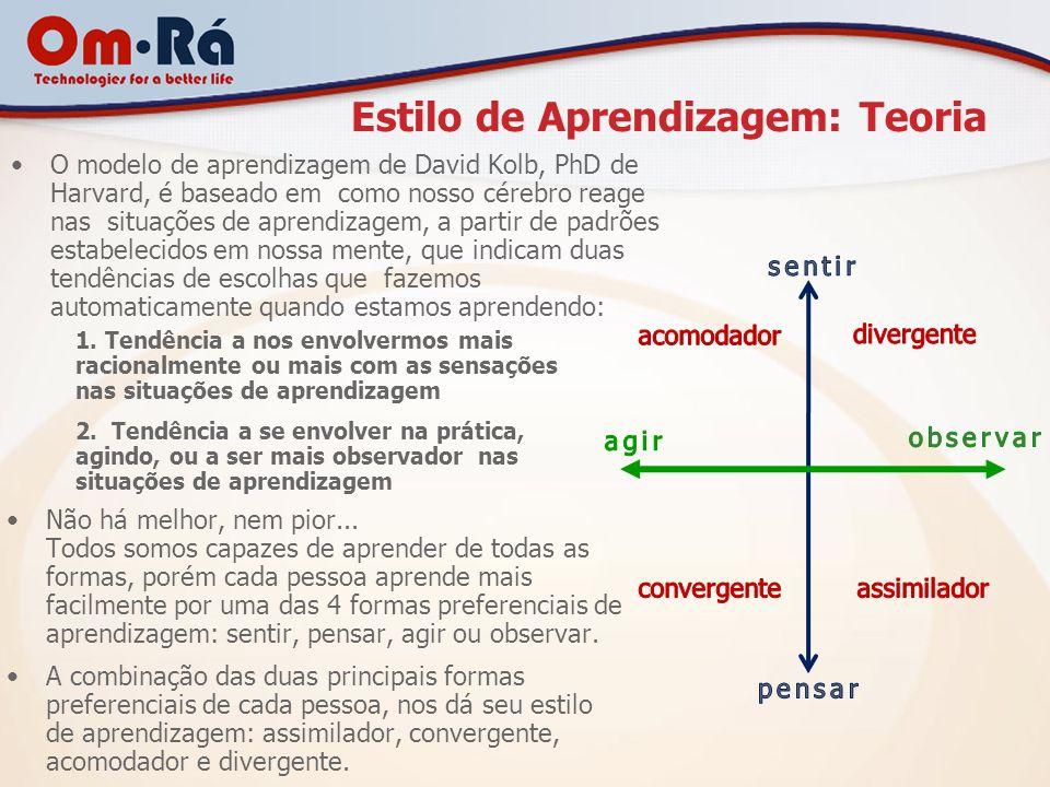 Estilo de Aprendizagem: Teoria