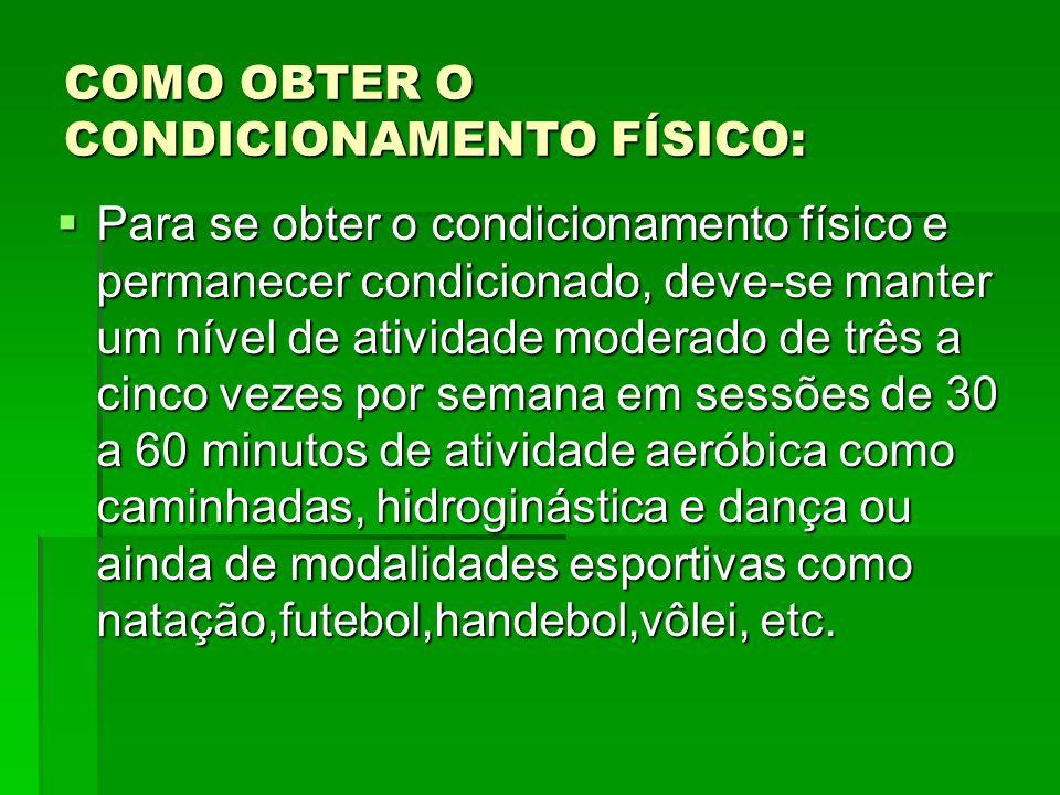 COMO OBTER O CONDICIONAMENTO FÍSICO: