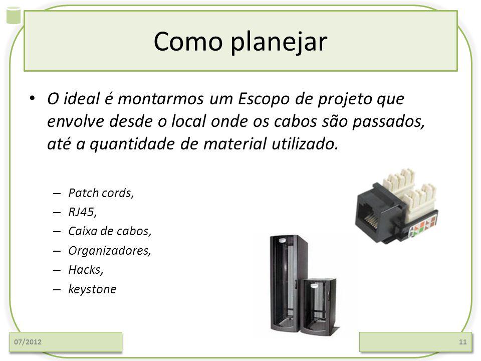 Como planejar O ideal é montarmos um Escopo de projeto que envolve desde o local onde os cabos são passados, até a quantidade de material utilizado.