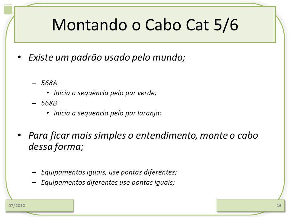 Montando o Cabo Cat 5/6 Existe um padrão usado pelo mundo;