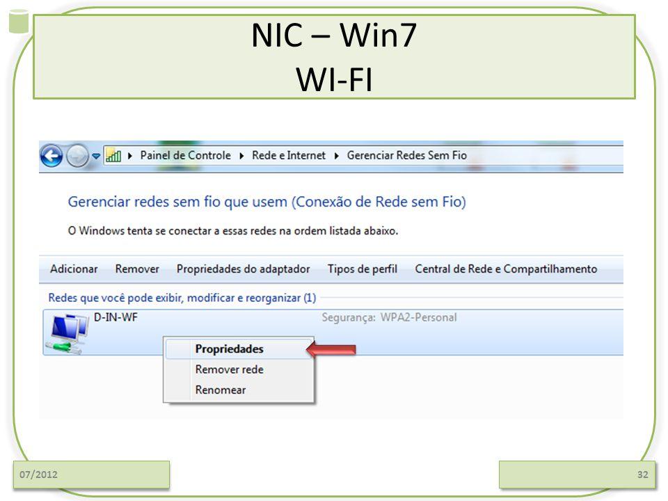 NIC – Win7 WI-FI 07/2012